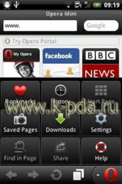Программа для Google Android Opera Mini